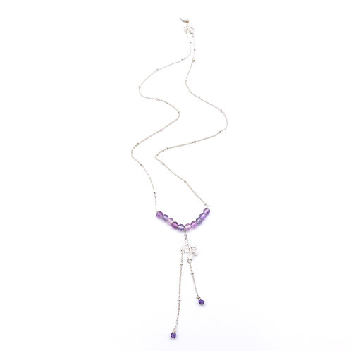 Bijou, Collier Ondine, chaîne en argent, fluorite, pierre fine, violet, Boutique Le Droit à la Belle Vie, Paris
