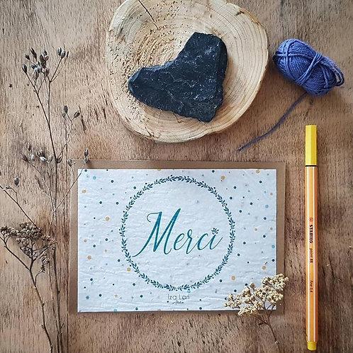 Iza Lan Atelier, Carte postale, carte à planter, Merci, fleur, graine, Boutique Les créateurs de saison, Paris