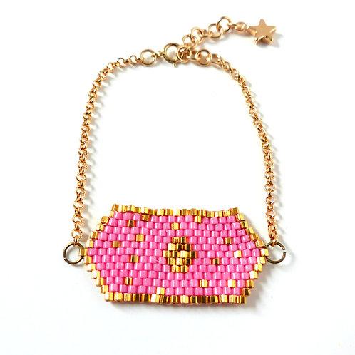 Bijou, Bracelet, chaîne plaqué or, tissage perles Miyuki, rose, plaqué or, étoile, Boutique Le Droit à la Belle Vie, Paris