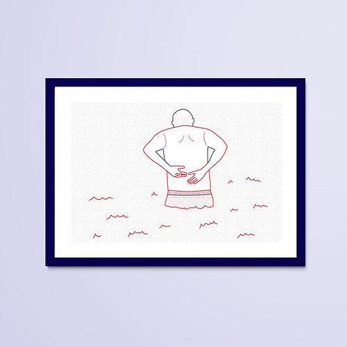 Dessin Naïade 3/8, Le Croisic, homme, bain de mer, dos, Manon Sénal, Boutique Les créateurs de saison, Paris