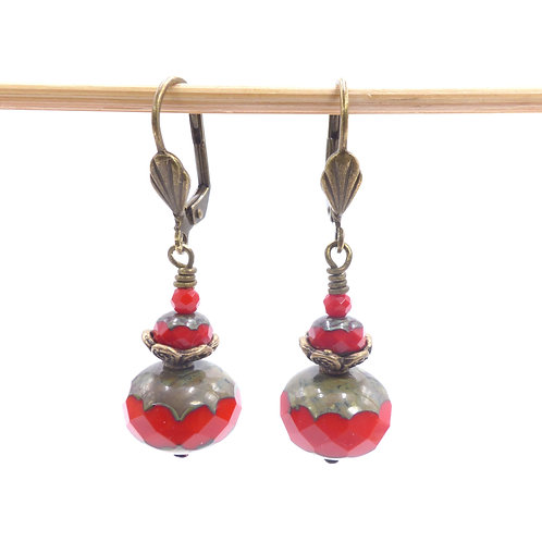 Jewelry, Earrings, red pearl of Bohemia, brass leverback, E-shop, The Right to Be Happy, Paris