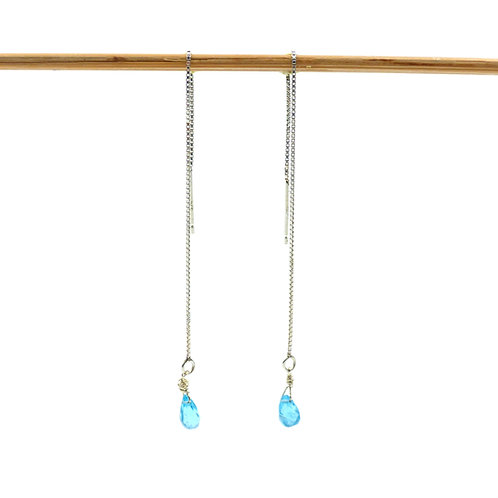 Bijou, Boucles d'oreilles, chaînette d'oreille en argent 925, apatite, bleu, Boutique Le Droit à la Belle Vie, Paris