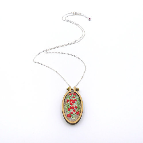 Necklace, collection Embroidery, Red rose