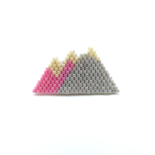 Brooch collection Mountain, pink/grey/white