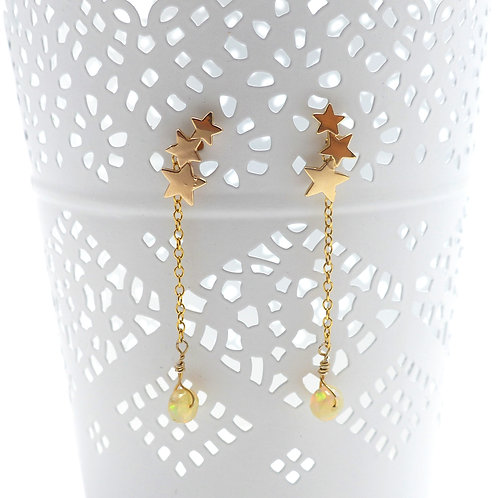 Jewelry, Earrings, Gold plated, star, opal, rainbow, E-shop, The Right to Be Happy, Paris