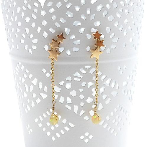 Bijou, Boucles d'oreilles, Plaqué or, argent doré à l'or fin,  opale, étoile,  cadeau, fête, Boutique Le Droit à la Belle vie