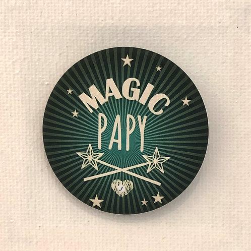 Les Janin's, Badge, Magic Papy, vert, blanc Boutique Les créateurs de saison, Paris