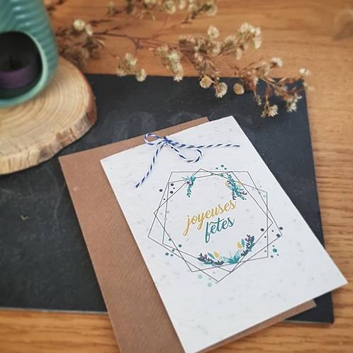 Iza Lan Atelier, Carte postale, carte à planter, Joyeuses fêtes, fleurs, graines, Boutique Les créateurs de saison, Paris