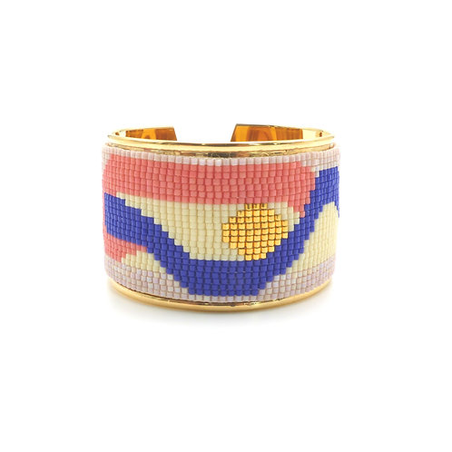 Bracelet, cuff, Miyuki pearl weaving, blue, pink, golden, The Right to Be Happy, Paris