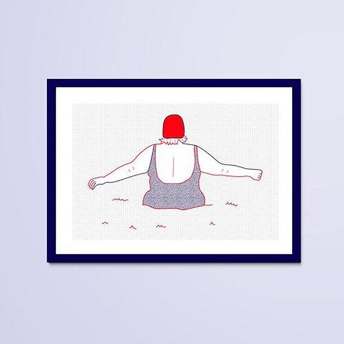Dessin Naïade 2/8, Le Croisic, femme, mer, bonnet de bain rouge, Manon Sénal, Boutique Les créateurs de saison, Paris