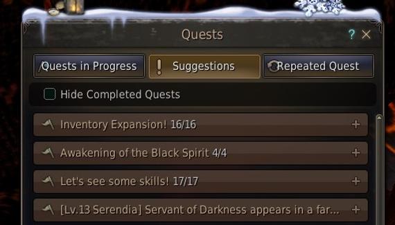BDO inventory quests list
