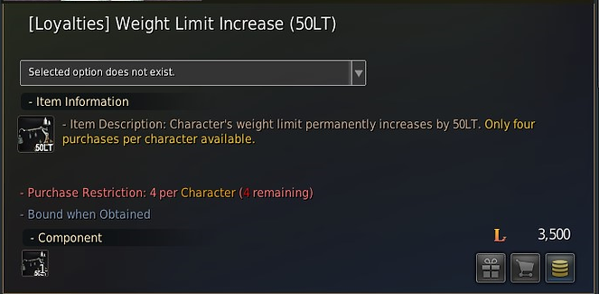 The item which increases weight limit increase that you can buy with loyalty points in BDO