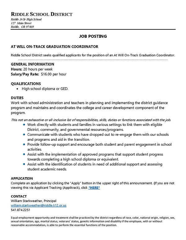 At Will - On Track Grad Coordinator-page
