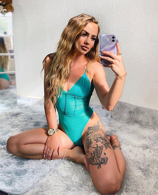 MATILDA Plunge Mesh Bodysuit - Blue