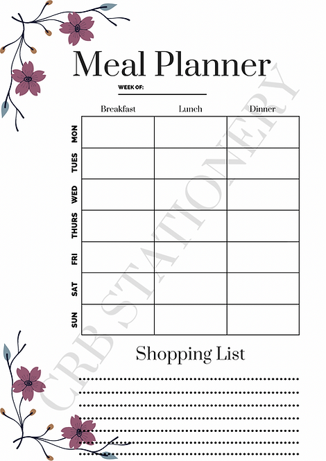 A4 Meal Planner & Shopping List