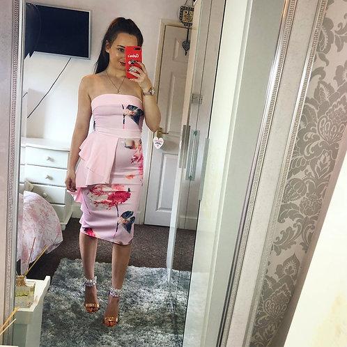 Tiffany Frill Detail Strapless Floral Midi Dress
