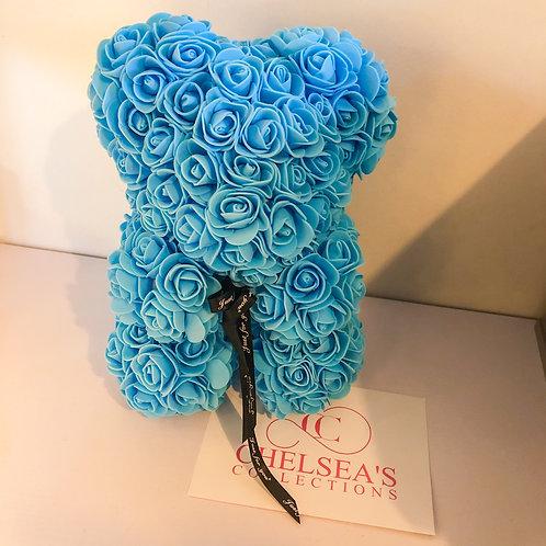 Rose Foam Flower Teddy Bear - Blue