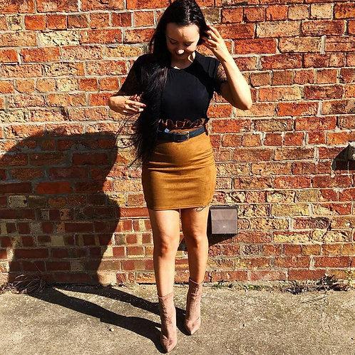 Faux Suede Paperbag Waist Skirt - Beige