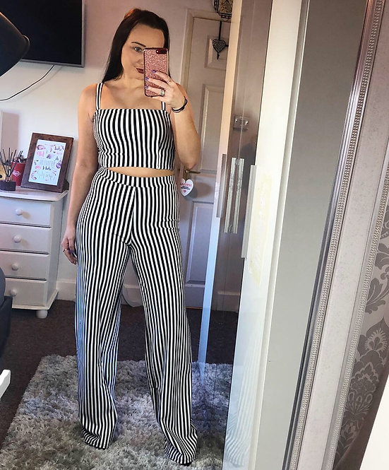 Lottie Stripped Flared Pant Two Piece Set