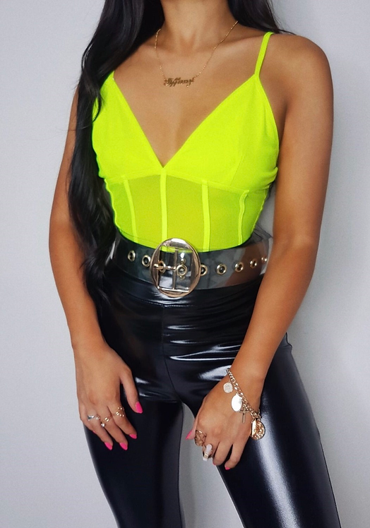MATILDA Plunge Mesh Bodysuit - Green
