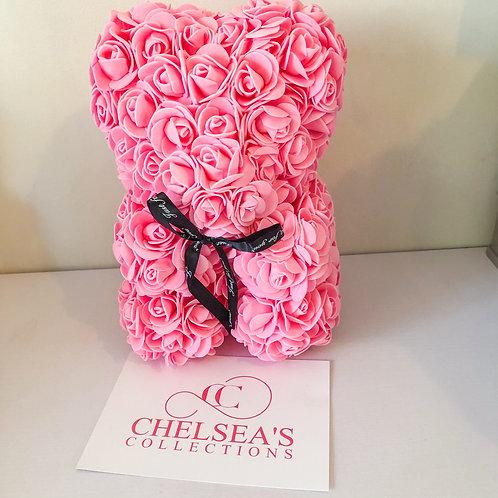Rose Foam Flower Teddy Bear - Pink