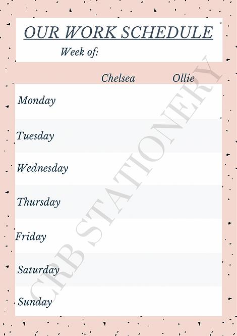 A4 Work Schedule