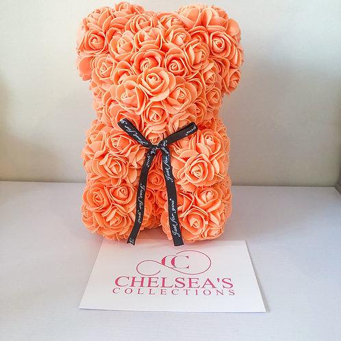 Rose Foam Flower Teddy Bear - Orange
