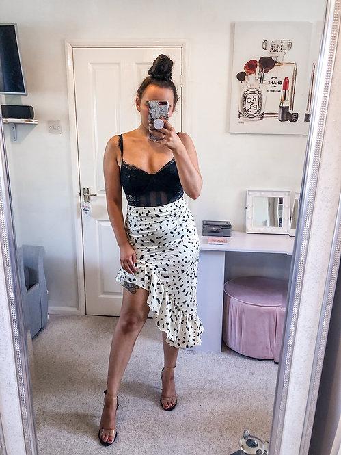 ANNABELLE Dot Frill Midi Skirt - Stone