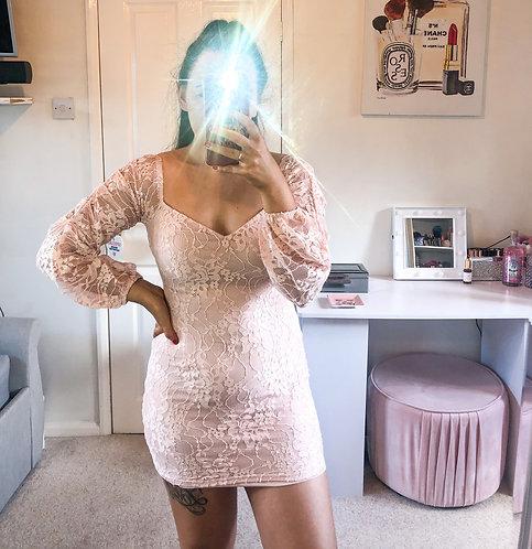 MELISSA Lace Sleeved Mini Dress - Pink