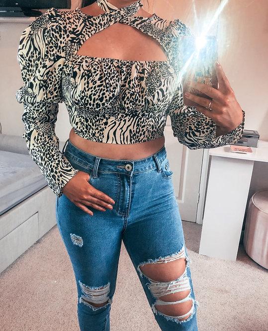 HAYLEY White Leopard Print Crop Top