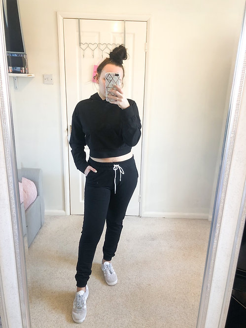 EMMA Black Crop Hood Loungewear Set