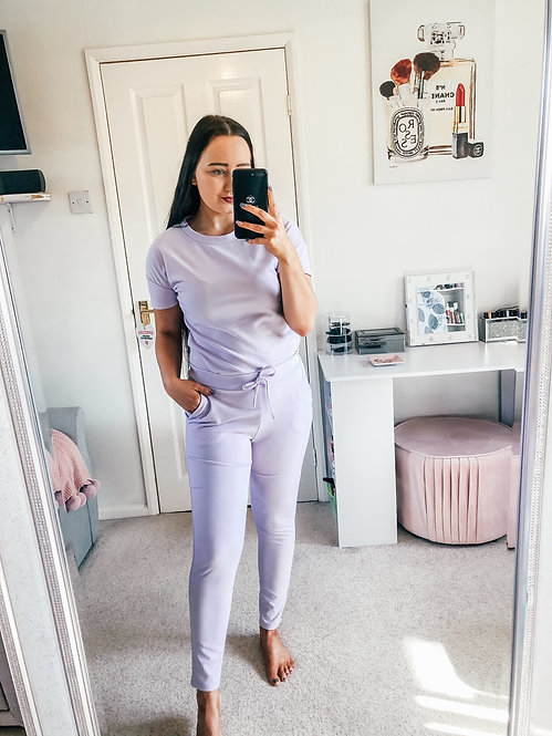 LEAH Short Sleeve Round Neck Lounge Set - Lilac