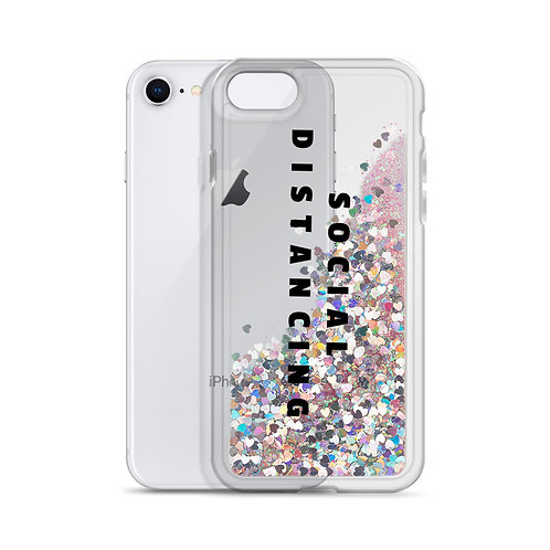 Social Distancing Liquid Glitter Phone Case