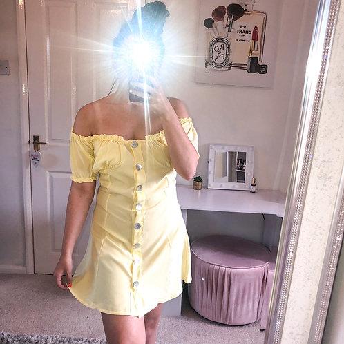 CLAIRE Button Up Bardot Mini Dress