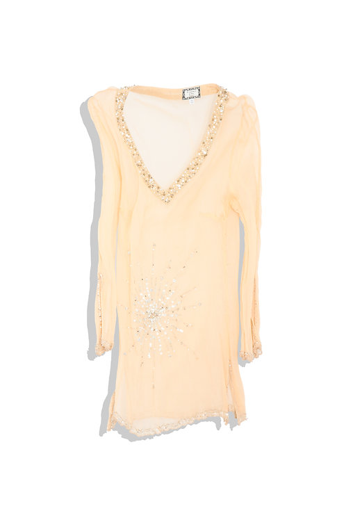 silky see through with beads / spangles