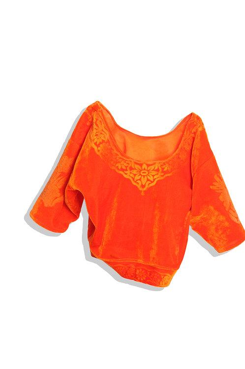 Orange Velour Top