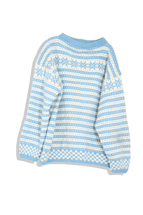 blue and white nordic sweater
