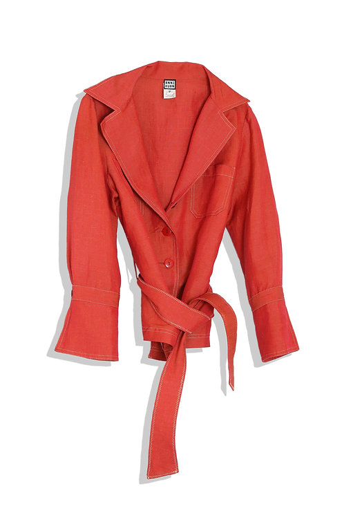 red linen jacket with belt