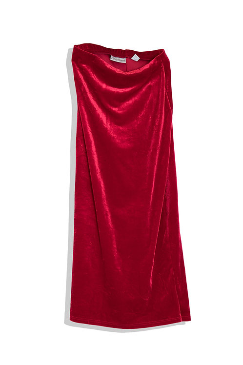 Raspberry red velvet skirt