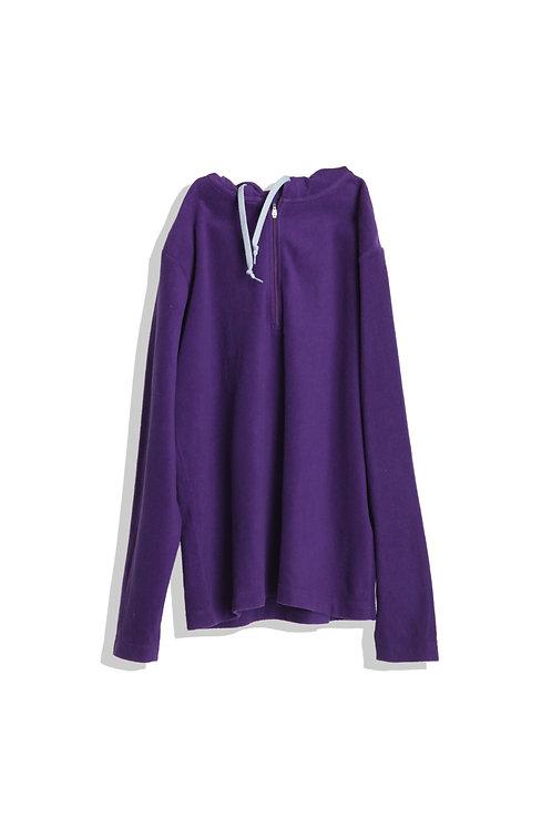 Purple fleece jumper with blue tape