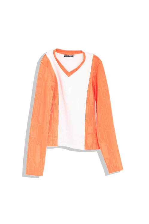 Racer top orange and white