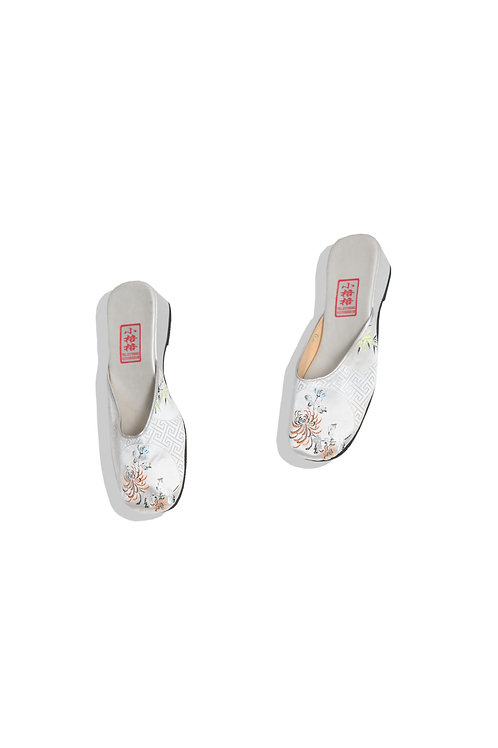 silver low heel shoes