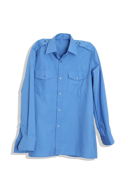 sky blue worker's shirt