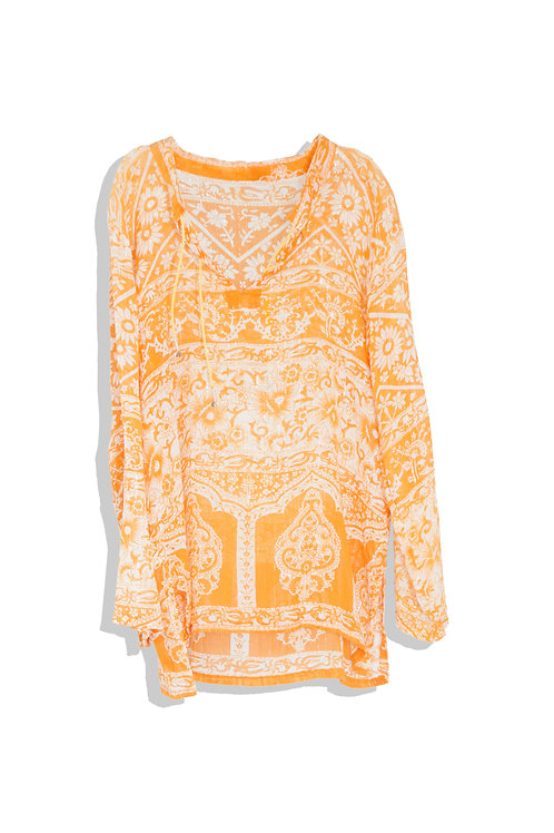 ethnic printed shirt orange