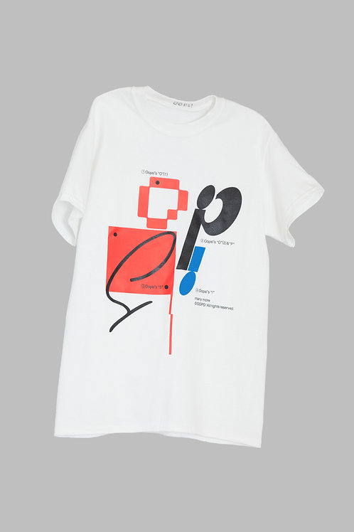 Oops! tee blue and red
