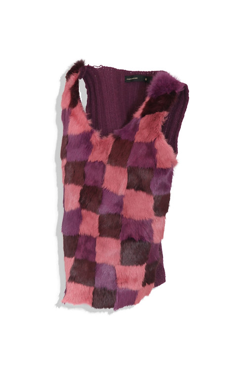 block fur and knitted vest
