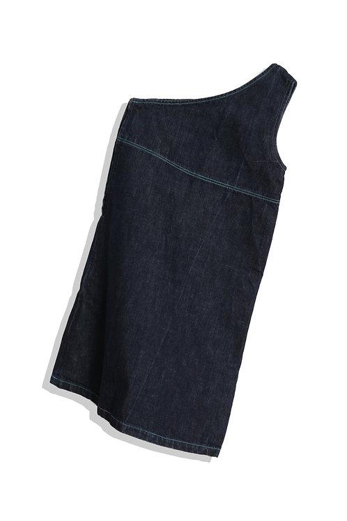 Single shoulder denim dress