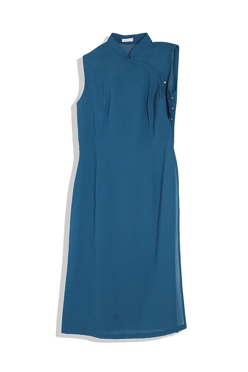 rich blue chinese dress