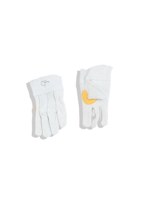 Light grey / yellow leather glove