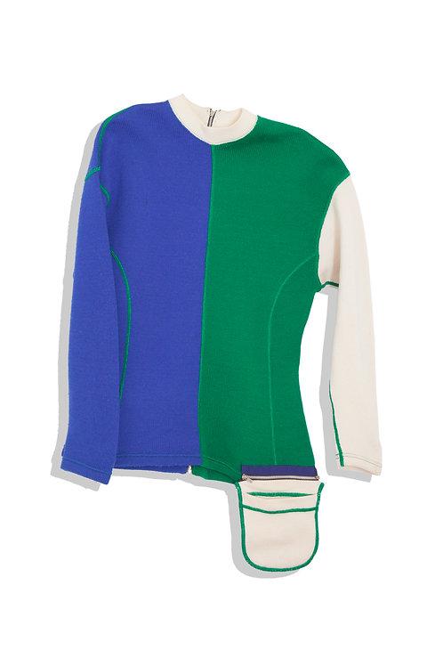 tricolor jumper with pocket